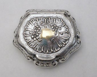 Silverplated Pill Box, Art Nouveau Style, Gold Wash