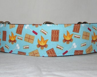 Campfire Martingale Dog Collar - 1.5 or 2 Inch - blue smore marshmallow chocolate fire camping