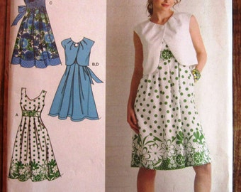 Misses Sleeveless Dress with Bodice Variations and Bolero Sizes 6 8 10 12 14 Simplicity Pattern 2886 UNCUT