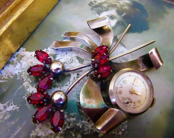 Early Vintage Marked Sterling Brooch/Glass Ruby Stones/ Cort Watch Works Well