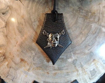Leather  Pendant (Black leather with Skull and Crossbones)