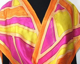 Silk Scarf Hand Painted, Silk Shawl, Orange Yellow Pink Hand Dyed Scarf NEW DAY, Size11x60, Mother Gift, Bridesmaid Gift, Free Gift-Wrapping