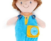 """PERSONALIZED Connor Blue Button, Dress and Learn Soft Plush Doll 14"""" tall"""