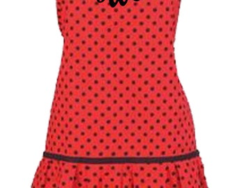 PERSONALIZED Adult Size Red & Black Polka Dots Girly Apron