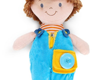 "PERSONALIZED Connor Blue Button, Dress and Learn Soft Plush Doll 14"" tall"