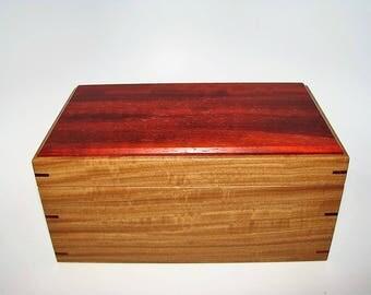 """Memory Box. Exotic Mahogany and African Padauk Keepsake Box. 8.75"""" x 5"""" x 4.25"""". Handcrafted Wooden Memory Box."""