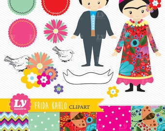 Frida Kahlo Clipart - Frida Kahlo Download - Instant Download - Frida Kahlo - Frida - Frida Clipart - Cute Frida Clipart -Frida Illustration