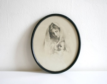 SALE Antique Cameo Photograph Madonna and Child