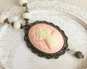 Victorian cameo necklaces, pink with ivory necklaces, large pendant, cameo jewelry, gift for her, romantic jewelry