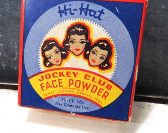 Vintage Hi-Hat Jockey Club Face Powder, Sealed, Full Box, Black Americana Makeup, Copper Brown, 1 oz.