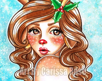 Rudolph Art Print by Carissa Rose - 5x7, 8x10, or Apprx 11x14 Signed Print - Beautiful Lowbrow Tattoo Flash Style Reindeer Fawn Girl