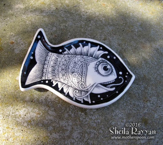LIttle Fish Plate - ceramic handmade, sushi dish, black and white drawing