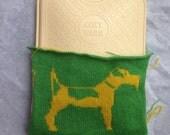 Custom listing for FeebleMuffin- Fox Terrier Hot Water bottle-green & yellow