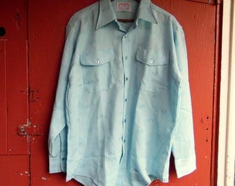 70s Sky Blue Greyhound Bus Driver Uniform Button Up Novelty Shirt Conductor Costume Ideas 48