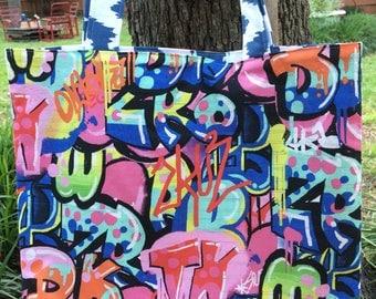 Urban , Tagging, Graffiti , Reversible, Shopping Bag