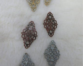Hand Painted Fancy Metal Connectors for Jewlery Earring Making Earthtones Three Sets Diamond Shaped Fancy Filigree Style Findings