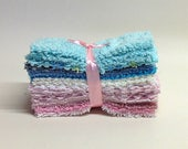 CHENILLE PATCHWORK 6 Inch SQUARES, Vintage, Baby Blues, Pinks, Creams, Quilting, Craft, Toymaking
