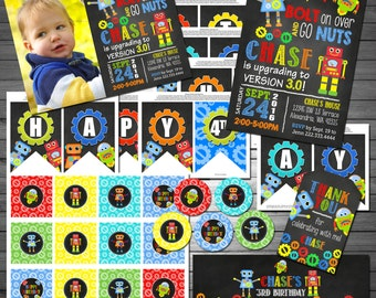 Robots Birthday Party Package, Printable File, Boys Robots Birthday, Robots Party, Chalkboard Invitation, Robots Party Decor