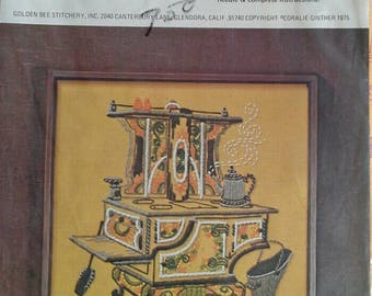 Antique Stove Crewel Embroidery Kit , Unopened NIP Golden Bee Stitchery 405