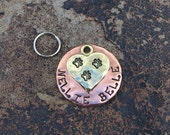 Big Heart Custom Pet Tag in Copper and Brass