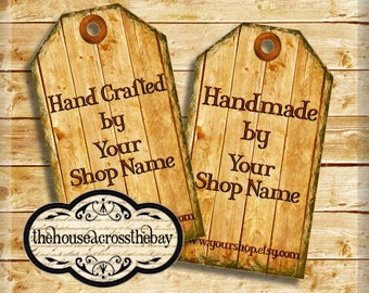 Printable Wood Shop tags | Customized Business tags | Product tags | Shop Labels | Hang Tags | With Your Message and Shop Name | Digital Tag