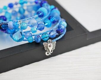 Blue Memory Wire Bracelet, Memory Wire Bracelet, Blue Bracelet, Blue Seed Bead Bracelet, Beaded Bracelet, Boho Bracelet,Beaded Wrap Bracelet