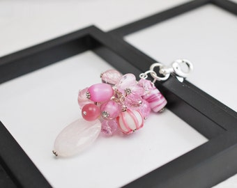 Pink Bag Charm, Pink Purse Charm, Beaded Purse Charm, Light Pink, Purse Charm, Pink Handbag Charm, Gift for Her, Handbag Charm, Bag Charm