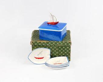 Vintage Box and Dish Set Nautical Sailboat Theme Made in Japan