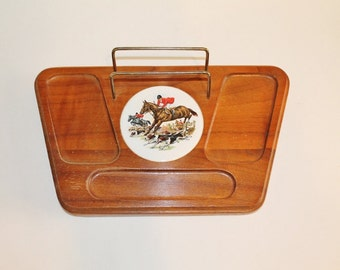Vintage Wooden Mans Valet with metal holder and Fox Hunt and Hounds Ceramic Motif - Phone, Wallet, Watch Holder