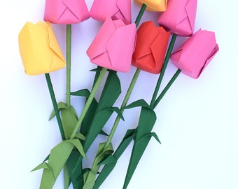 Assorted Origami Flower Bouquet: Lavender, Yellow, Orange