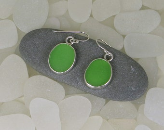 Bright Green Sea Glass Bezel Earrings
