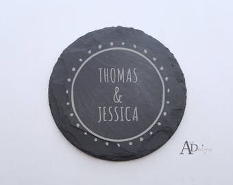 Personalized Slate Coasters Engraved Personalized Coaster Custom Coaster Personalized Wedding Gift Housewarming Gift Couple Gift