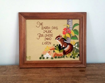 Cute Chipmunk Earth Music Nature Large Framed Embroidery
