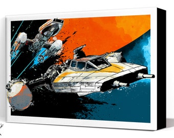 Star Wars Canvas - Y-Wing Starfighter - Star Wars Art, large Canvas Art Print, Star Wars Rogue One fan art illustration many sizes available