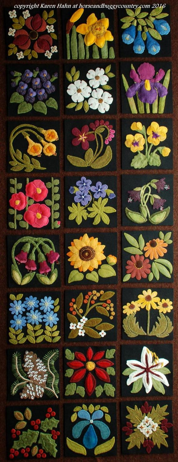 Wool Applique Bom Patterns Amp Or Kits For All 24 6x6 Inch