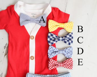 Summer Newborn Baby Boy Coming Home or Birthday Outfit Set to 5 Items. Red Cardigan Bodysuit, Bow Tie Bodysuit, Shorts  & Newsboy Hat Dad Me