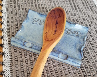 Swirly Pattern Scalloped Edge Triple Spoon Rest in Blue Handmade Pottery 3 Three Slot