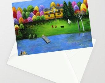 Pumpkin's Honeybear Cottage - Folk Art Greeting Card - Fall Foliage Colors, Waterfront Cottage, baby bear, muskoka chair, bonfire, cats