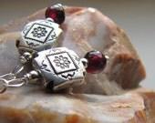 garnet earrings. DESERT ROSE. January birthstone. stone earrings. southwest earrings. western earrings. under 25 dollars. lightweight