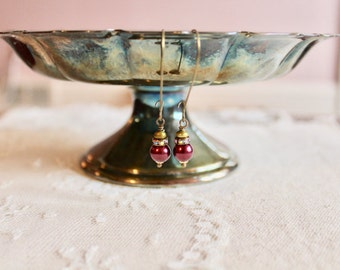 Aubergine / plum / eggplant bead, rhinestone, and olive green glass bead drop earrings, kidney wire earrings