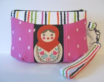 Matryoshka Nesting Doll Babushka Zipper Clutch Wristlet Bag