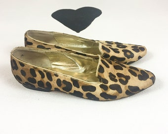 80's 90's leopard print pony hair loafer flats / 1980's Roberto Vianni for Neiman Marcus leather fur classic flat shoes / slip on 9.5 9 1/2