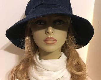 Womens Sun Hat, Garden Hat, Beach Hat, in solid blue denim