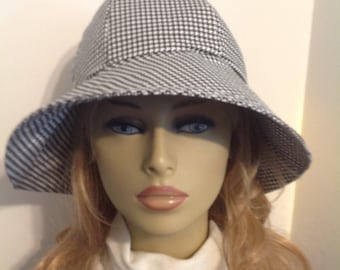 Sun Hat, Garden Hat, Beach Hat, in Black and White Houndstooth