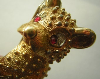 Vintage Bear Brooch Pin Ruby Red Eyes Nubby Texture Pave Rhinestones Brushed Gold Finish