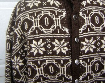 "Vintage Wool ICELANDIC Nordic Cardigan Sweater Mens or Unisex Snowflake Hand Knitted  58"" Chest XL"