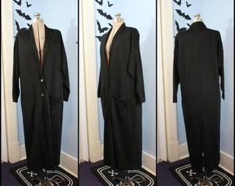 Womens Vintage 80s 90s Long Black Duster Coat Size Medium Dolman Sleeve Retro Goth New Wave Oversized Avon Fashion