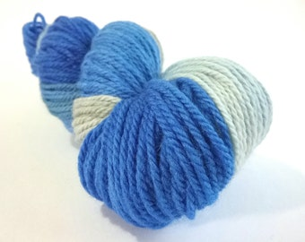 CLEARANCE...REDUCED...Space Age hand dyed Blue Faced Leicester aran weight superwash yarn