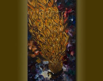 Original Peacock Oil Painting Textured Palette Knife Contemporary Modern Animal Art 20X40 by Willson Lau