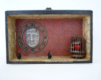 Contained - Mixed Media Assemblage Shadow Box Art
